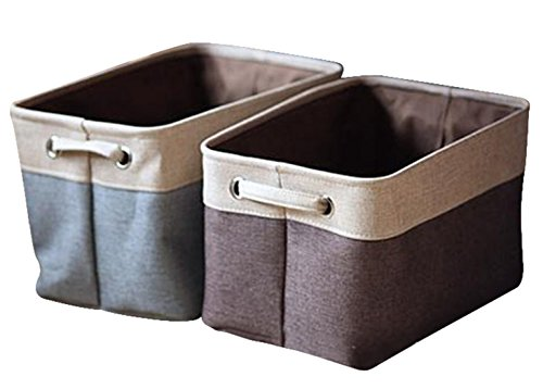 [2-Pack] Rectangular Storage Bin Decorative Collapsible Organizer Basket with Handles-for organizing Baby Toys Bins, Kids Toys, Baby Clothing, Children Books, Gift Baskets