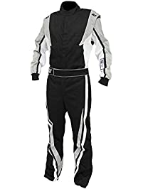 K1 Race Gear SFI 3.2a/1 Victory Auto Racing Suit (Black/White/Grey, Large)