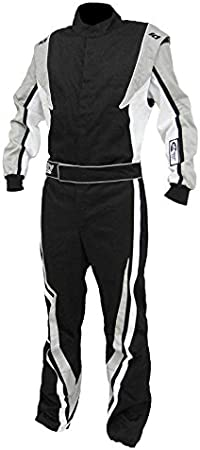K1 Race Gear 20-TRI-NW-2XS Black//White XX-Small Single Layer Triumph PROBAN Cotton SFI Rated Fire Suit