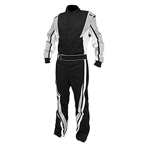K1 Race Gear SFI 3.2a/1 Victory Auto Racing Suit (Black/White/Grey, XXX-Large)