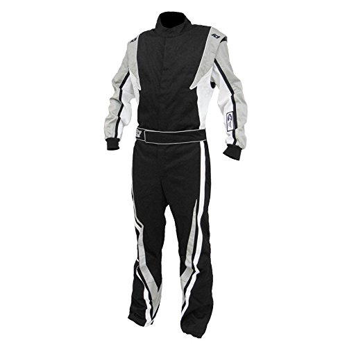 K1 Race Gear SFI 3.2a/1 Victory Auto Racing Suit (Black/White/Grey, XX-Large)
