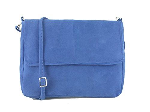Faux Body Suede Cross Light Blue in Shoulder Royal Blue Clutch Bag Handbag LONI Cobalt z8I0qTw