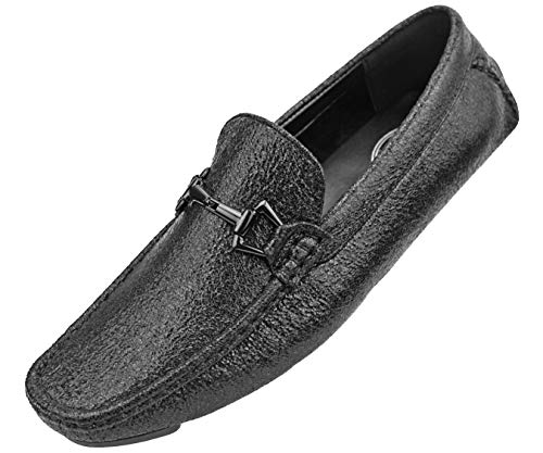 Driving Moccasin with A Crackle Metallic Design and Matching Bit Driving Shoe ()