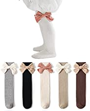 JFAN Newborn Baby Socks Knee High Socks with Bowknot for Baby Girls Cable Knit Stretchy Knee High Socks for To