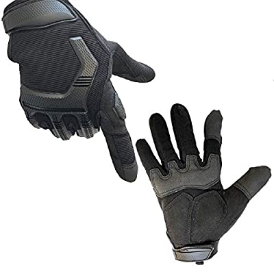 Motorcycle Gloves Tactical Gloves with Touchscreen Finger Leather and Hard Rubber Knuckle Guard,Military Airsoft Paintball Bike Cycling Climbing Hiking Hunting Shooting Work Gloves for Men Women