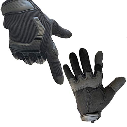 Protective Motorcycle Gloves Work Gloves, Touch Screen Leather and Hard Knuckle Full Finger for Military Tactical Bike Cycling Racing Hunting Airsoft Paintball Shooting Work (Black, XL:8.66-9.06)