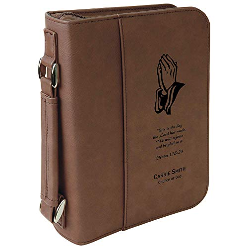 (Custom Bible Cover | Praying Hands Psalms Scripture |Personalized Bible Cover (Brown))
