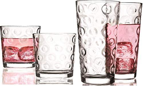 Circleware DoubleCircle Huge 16-Piece Glassware Set of Highball Tumbler Drinking Glasses and Whiskey Cups for Water…