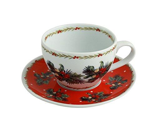 (Belleek Ansley Mistletoe & Holly Teacup & Saucer Set)