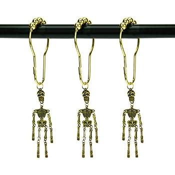 ZILucky Set of 12 Skeleton Shower Curtain Hooks Skull Tassel Articulated Design Decorative Home Bathroom Halloween Decor (Skull Tassel Bronze)