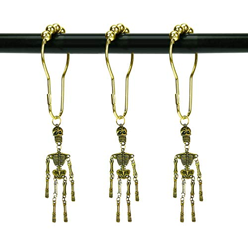 ZILucky Set of 12 Skeleton Shower Curtain Hooks Skull Tassel Articulated Design Decorative Home Bathroom Halloween Decor (Skull Tassel Bronze)
