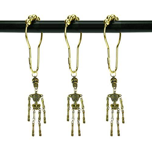 ZILucky Set of 12 Skeleton Shower Curtain Hooks Skull Tassel Articulated Design Decorative Home Bathroom Halloween Decor (Skull Tassel Bronze)]()