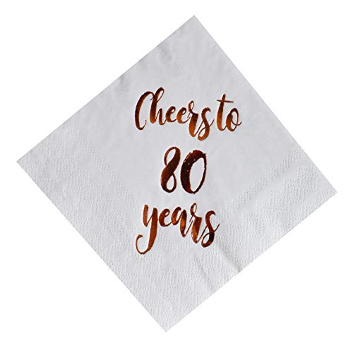 Cheers to 80 Years Cocktail Napkins, 50-Pack 3ply White Rose Gold 80th Birthday Dinner Celebration Party Decoration Napkin -