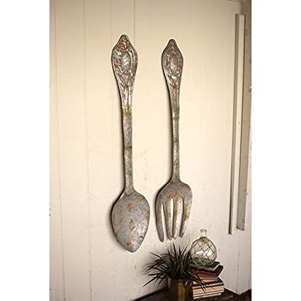 Kalalou Rustic Large Metal Fork And Spoon Wall Decor, Set Of 2