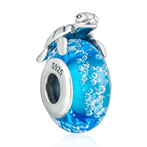 925 Sterling Silver Hawaiian Sea Turtle Charm Dangle Chritmas Holiday Pendants with Blue Murano Glass Travelers Gifts for Women or Girls DIY European Style ()