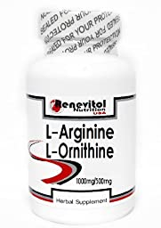 L-Arginine and L-Ornithine Free Form 1000 mg/500 mg 200 Capsules ~ Renevitol