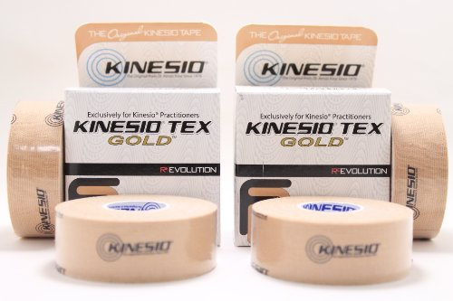 Kinesio Tex Gold FP Tape 1'' x 5.5 Yards BEIGE (Pack of 4 Rolls) by Kinesio