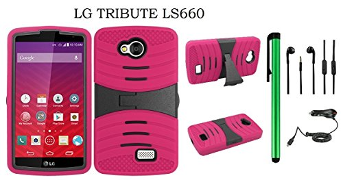 (LG Tribute LS660 Dual Layer Hybrid Case - UCASE Cover With Kickstand and Screen Installed + Car Charger + 3.5MM Stereo Earphones + 1 of New Metal Stylus Touch Screen Pen (PINK))