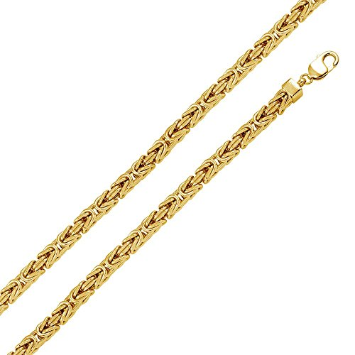 - 7.8mm Sterling Silver Italian Necklace 14K Gold Plated Hollow Byzantine Chain (26, 30 Inch), 30