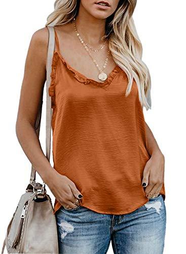 BLENCOT Womens Fashion V Neck Ruffle Sleeveless Tops Spaghetti Strap Tank Camisole Shirts Blouses Bright Orange Medium ()