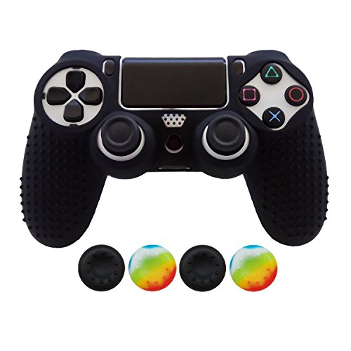 Hikfly Non-Slip Studded Rubber Oil Silicone Controller Cover with 4pcs Thumb Grips Caps Kit for Sony PS4/Slim/Pro Controller(Black)