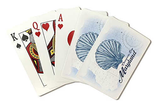 Chesapeake Bay, Maryland - Scallop Shell - Blue - Coastal Icon (Playing Card Deck - 52 Card Poker Size with Jokers)