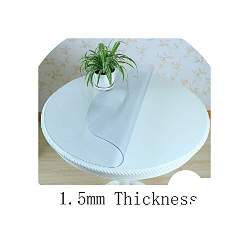 Home Kitchen Waterproof Oil Proof Dining Crystal Transparent Anti Scald Soft Glass Round PVC Cover mat placemat Table Cloth,Model J,100x100cm]()
