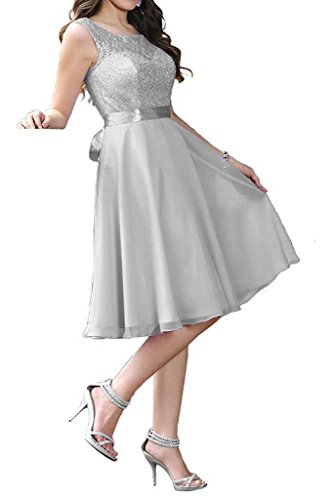 Hochzeit Abendkleider Brautjungfernkleider Spitze Partykleider Silber Elegant Chiffon Festkleider Beyonddress Damen wxBSAnfqI