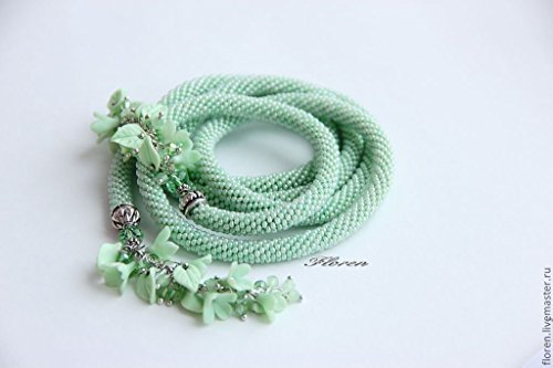 Alyssas Garden - Alyssa Bead Crochet HANDMADE necklace - AFTER THE RAIN-green color, long jewelry, Beadwork Flower Garden Polymer clay Bead Crochet necklace valentine love