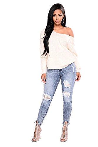 Skinny Denim Strappato Donna Distrutto Blue Dunland Jeans Distressed 4vq0fxwS