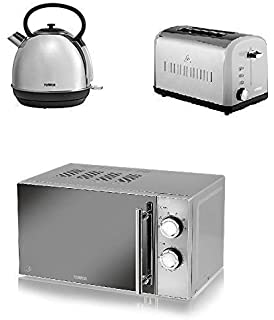 ea9357505071 Modern Tower Stainless Steel Kitchen Set - Silver 1.7L Traditional Dome  Kettle a Silver 2 Slice…