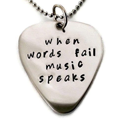 Moonstone Creations Music Gift When Words Fail Music Speaks Necklace for Men or Women ()