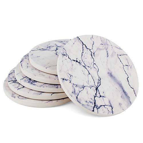 (Urban Mosh Drink Coasters (6-Piece Set) Modern, Contemporary, Absorbent | White Marble Style Ceramic Stone Coasters, Cork Backing | Housewarming Gift, Home Decor, Modern Decor ... (White))
