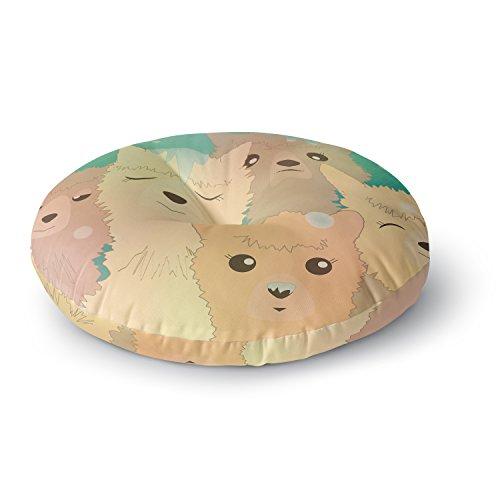 KESS InHouse Graphic Tabby Alpacas in Snow Pastel Animals Round Floor Pillow, 26'' by Kess InHouse