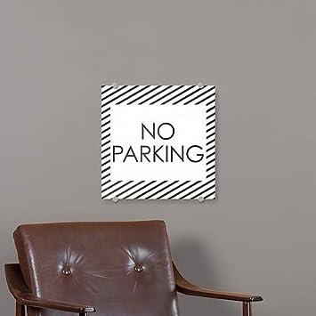 No Parking Stripes White Premium Brushed Aluminum Sign 16x16 5-Pack CGSignLab
