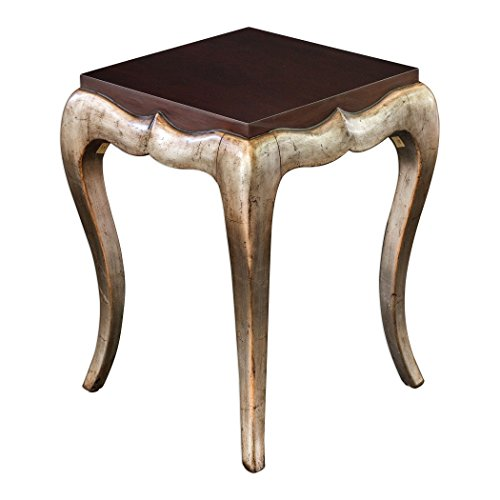(Curved Silver Champagne Accent Table | Dark Wood Retro Modern Vintage Style)