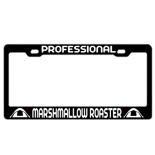 Professional Marshmallow Roaster Camping Black Personalized License Plate Frame Car Tag Frame Stainless Steel Metal 2 Hole and Screws