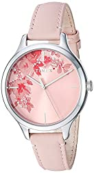 Crystal Bloom Pink Floral Accent Leather Strap Watch