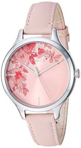 (Timex Women's TW2R66600 Crystal Bloom Pink/Silver Floral Accent Leather Strap Watch)
