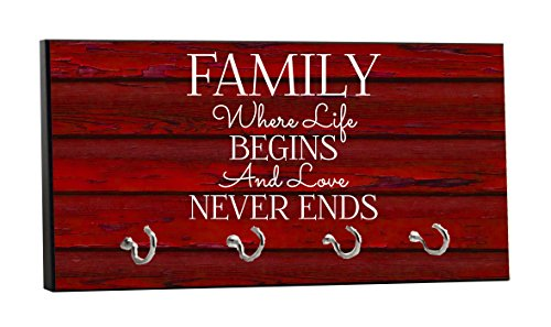Family - Love Never Ends - On Red Wood Print - 5