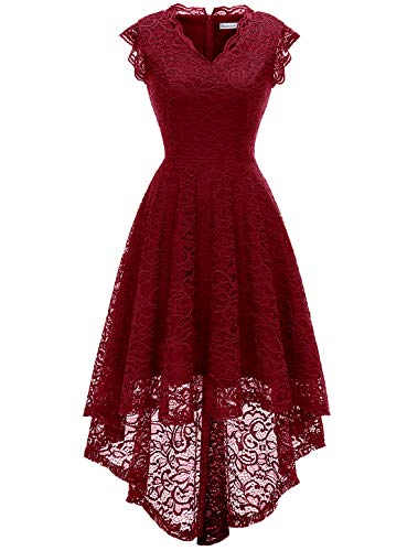 MODECRUSH Womens Ruffle Sleeve Formal Hi Low Floral Lace Cocktail Party Dresses M DarkRed]()