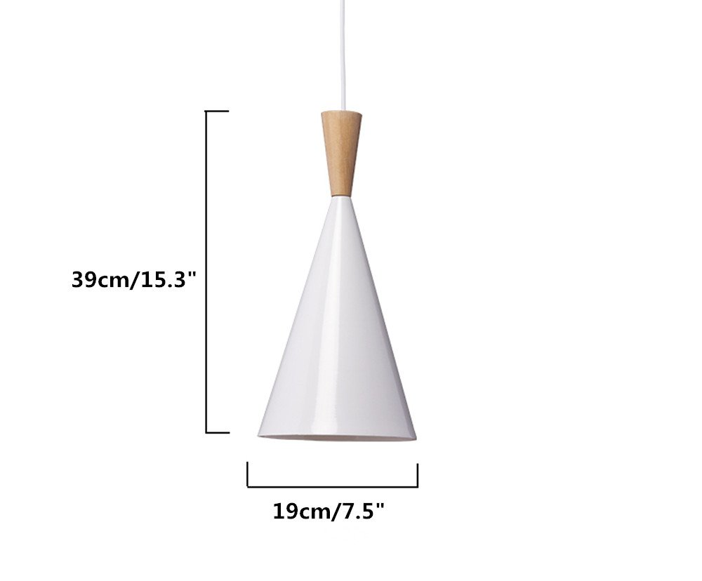 BOKT 60W Single Head Ceiling Pendant Light fixtures Minimalist White Aluminum Hanging Chandelier Lighting for Kitchen Living Room Bedroom Home Decor (Style A) by BOKT (Image #2)
