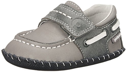 pediped Originals Norm Boat Shoe (Infant),Grey,Small (6-12 Months E US Infant)