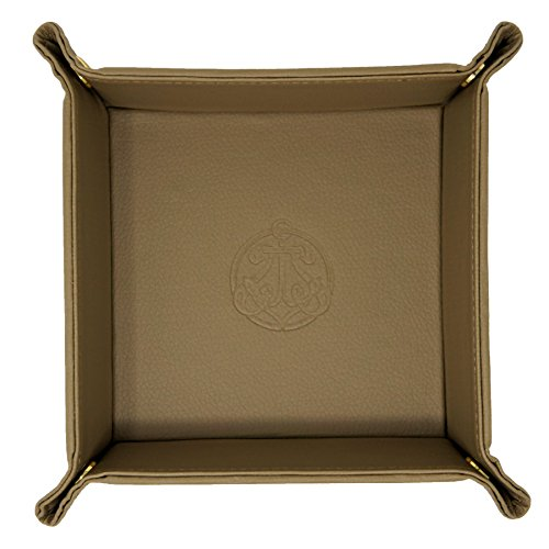 SIVEL + SHARP Leather Valet Tray - Embossed Catchall Tray with Brass Snaps (Khaki) (Brass Leather Table)