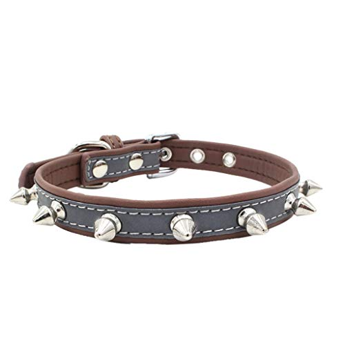 FakMe Exquisite Adjustable Reflective Rivet Dog Puppy Pet Collars Black Studded Leather Safety Cat Collar