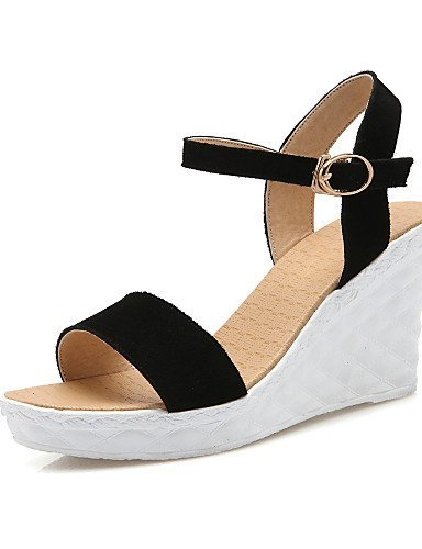 ShangYi Women's Shoes Fleece Wedge Heel Wedges / Comfort / Open Toe Sandals Office & Career / Dress Black / Yellow / Green Yellow Ovxm1r7F37