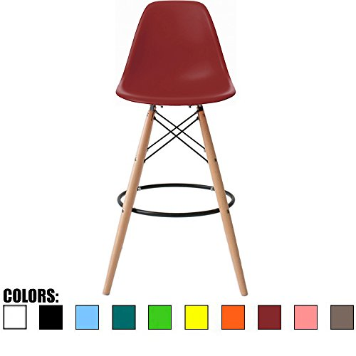 (2xhome BarRay(Red) Eames Style Modern Mid Century Armless with Back Bar Stool Height Counter Chair with Natural Wood Legs 28