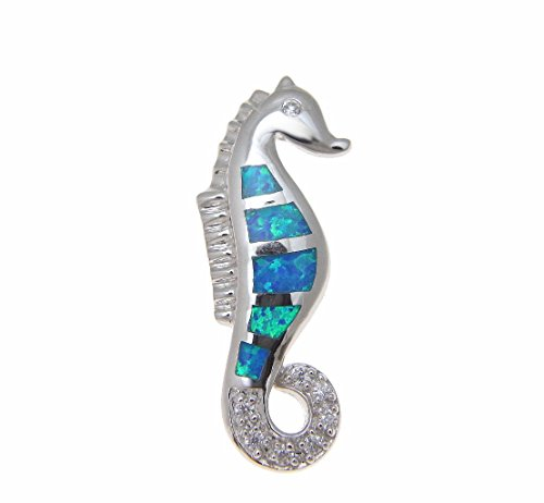 925 Sterling silver inlay synthetic opal Hawaiian seahorse slide pendant cz 11mm