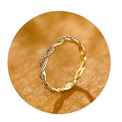 CAIYCAI Pattern Twisted Rope Hemp Flowers Ring Plating Rose Gold Silver Micro Cubic Zirconia Tail Ring Gold1 9