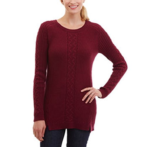 Cable Knit Henley Sweater (Nautica Women's, Ladies' Cable Tunic Sweater Red Small)